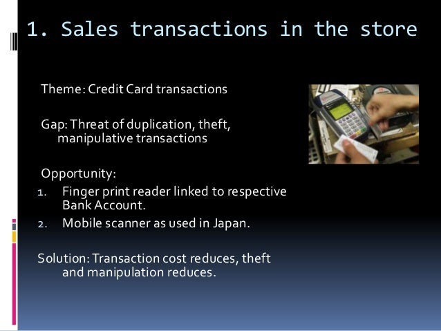 1. Sales transactions in the store Theme: Credit Card transactions Gap: Threat of duplication, theft,   manipulative trans...