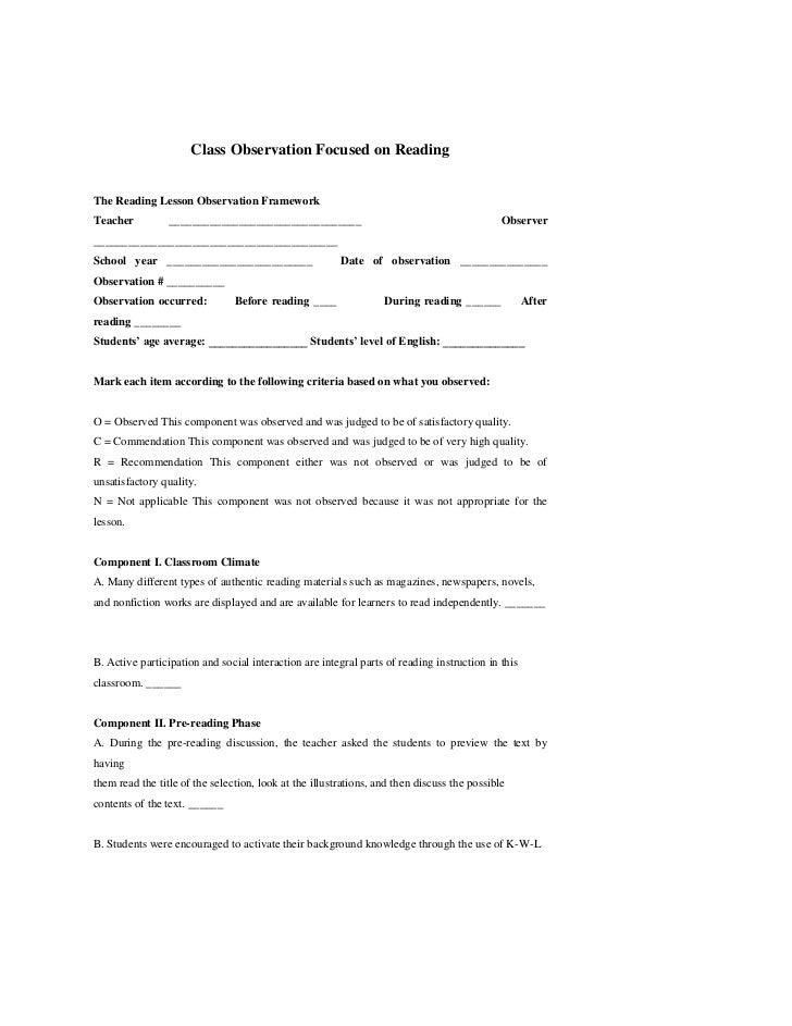 Class Observation Focused on ReadingThe Reading Lesson Observation FrameworkTeacher          _____________________________...