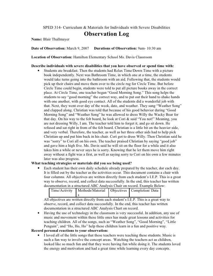 observation of two children essay