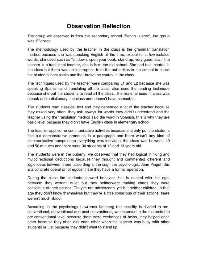 students teacher observation essay Essay on classroom observation report 2176 words | 9 pages teacher and her students in an observation i did in a false beginner english as second language (esl) class at the university of texas.