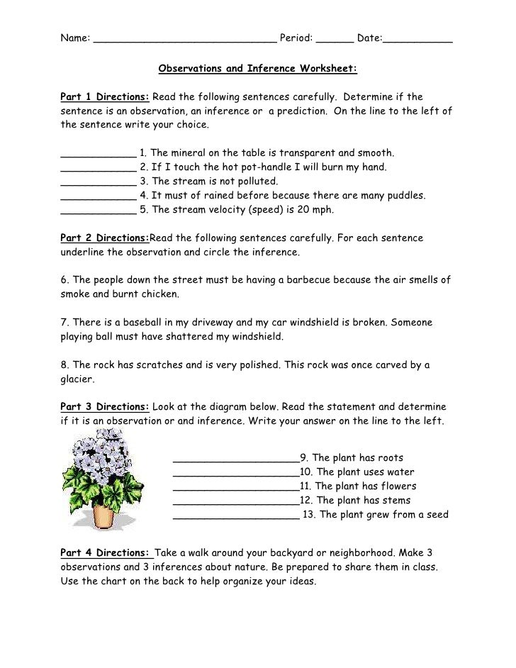 Observations and Inference Worksheet – Inferences Worksheets