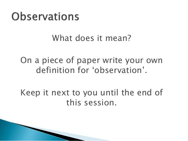 what do observation mean