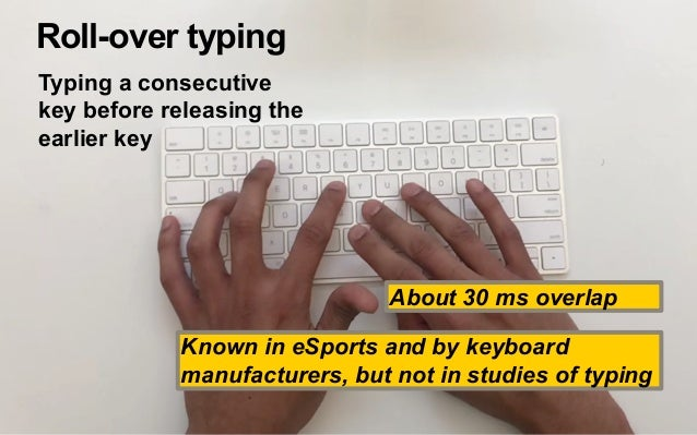 Rollover vs. typing speed Correlation with wpm r = 0.73 Average 25% Highly correlated with speed