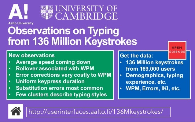Observations on typing from 136 million keystrokes - Presentation by Antti Oulasvirta at CHI2018, April 2018, Montreal