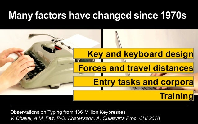 Observations on Typing from 136 Million Keypresses V. Dhakal, A.M. Feit, P-O. Kristensson, A. Oulasvirta Proc. CHI 2018 Ma...