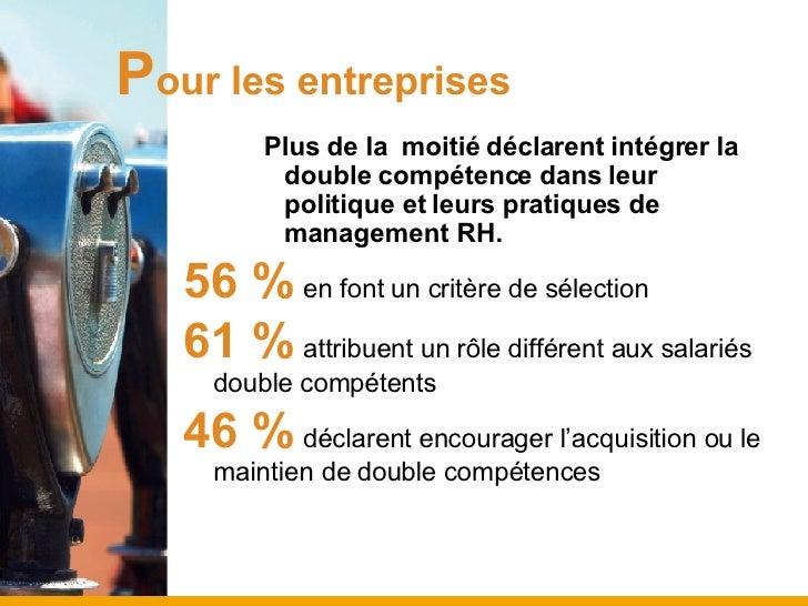 P our les entreprises <ul><ul><ul><li>Plus de la  moitié déclarent intégrer la double compétence dans leur politique et le...