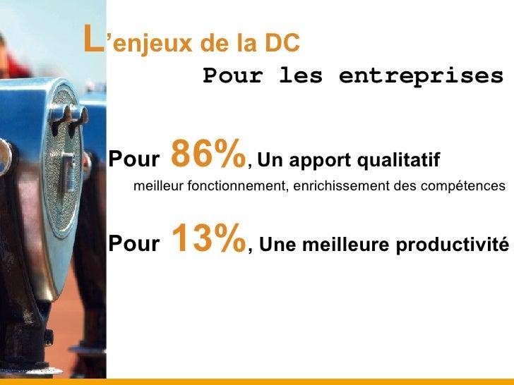 L 'enjeux de la DC <ul><li>Pour  86% ,  Un apport qualitatif </li></ul><ul><ul><li>meilleur fonctionnement, enrichissement...