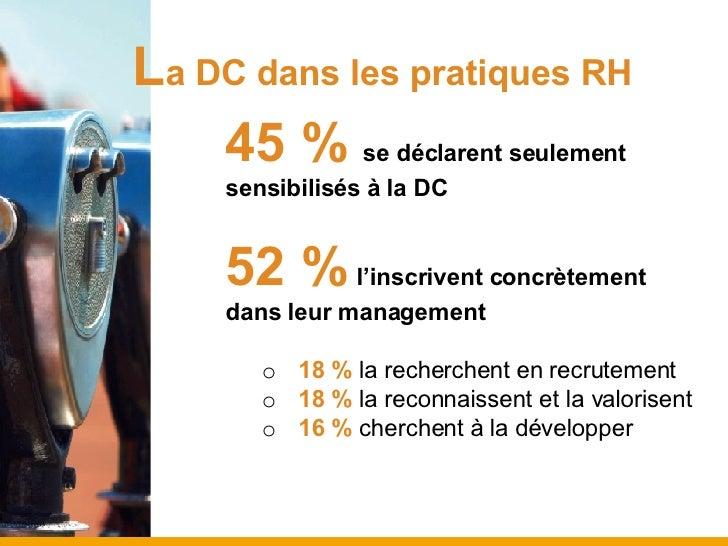 L a DC dans les pratiques RH <ul><ul><ul><li>45 %   se déclarent seulement sensibilisés à la DC </li></ul></ul></ul><ul><u...