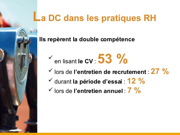 L a DC dans les pratiques RH <ul><ul><ul><li>Ils repèrent la double compétence </li></ul></ul></ul><ul><ul><ul><ul><li>en ...
