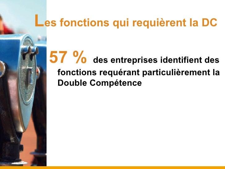 L es fonctions qui requièrent la DC <ul><li>57 %   des entreprises identifient des fonctions requérant particulièrement la...