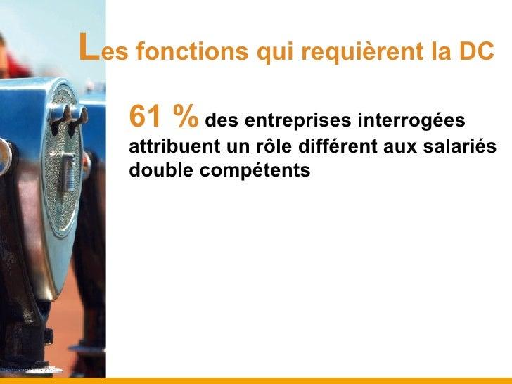 L es fonctions qui requièrent la DC 61 %   des entreprises interrogées attribuent un rôle différent aux salariés double co...