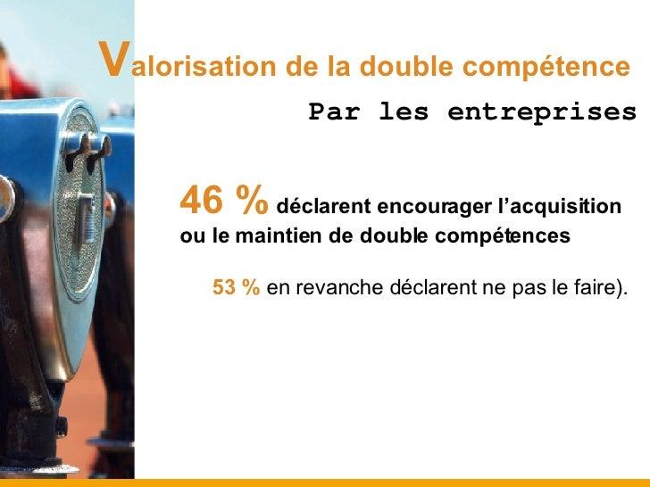 V alorisation de la double compétence   Par les entreprises <ul><ul><ul><li>46 %  déclarent encourager l'acquisition ou le...
