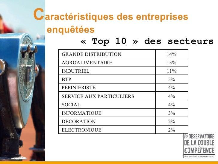 « Top 10 » des secteurs C aractéristiques des entreprises  enquêtées
