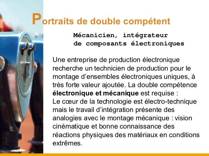 P ortraits de double compétent <ul><ul><ul><li>Mécanicien, intégrateur  </li></ul></ul></ul><ul><ul><ul><li>de composants ...