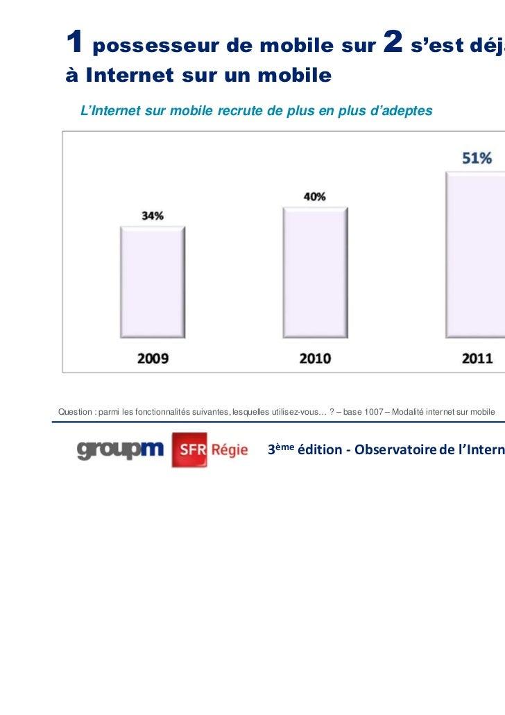 1 possesseur de mobile sur 2 s'est déjà connecté à Internet sur un mobile     L'Internet sur mobile recrute de plus en plu...