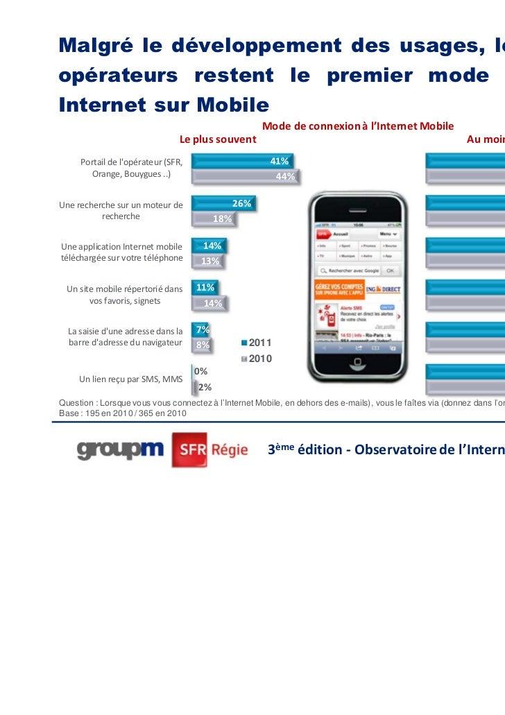 Malgré le développement des usages, les portailsopérateurs restent le premier mode d'accès àInternet sur Mobile           ...