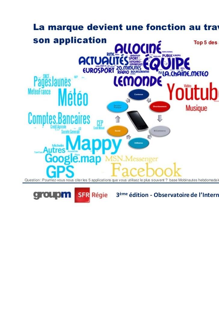La marque devient une fonction au travers de     son application                 Top 5 des applications utiliséesQuestion ...