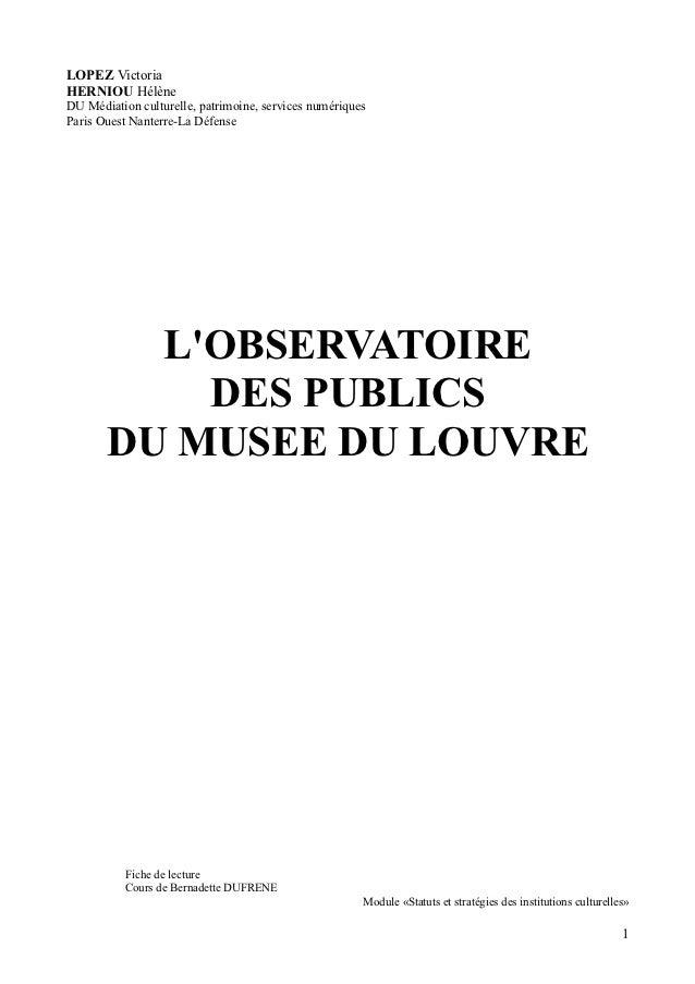LOPEZ VictoriaHERNIOU HélèneDU Médiation culturelle, patrimoine, services numériquesParis Ouest Nanterre-La Défense       ...