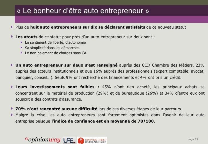 Observatoire auto entrepreneur vague 1 - Chambre des metiers toulouse auto entrepreneur ...