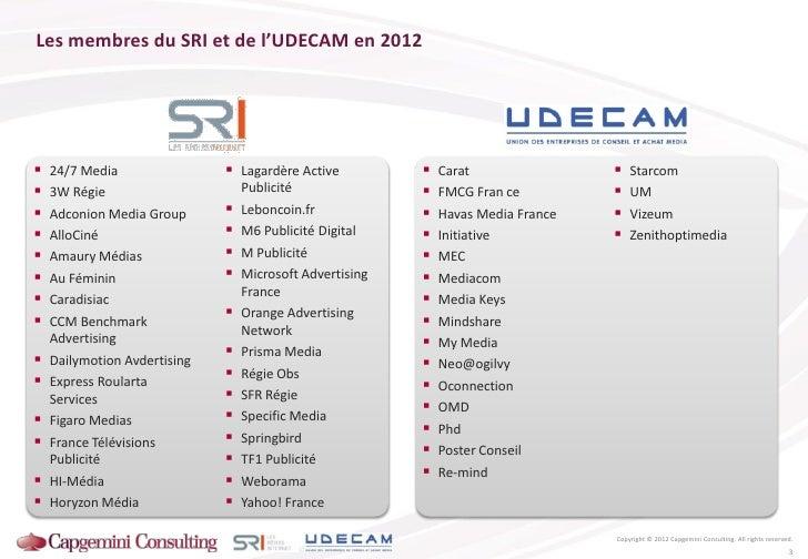 Les membres du SRI et de l'UDECAM en 2012   24/7 Media                 Lagardère Active             Carat              ...