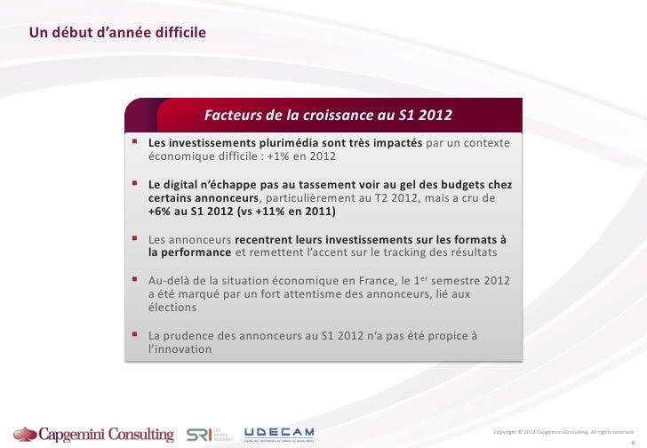 Un début d'année difficile                           Facteurs de la croissance au S1 2012               Les investissemen...