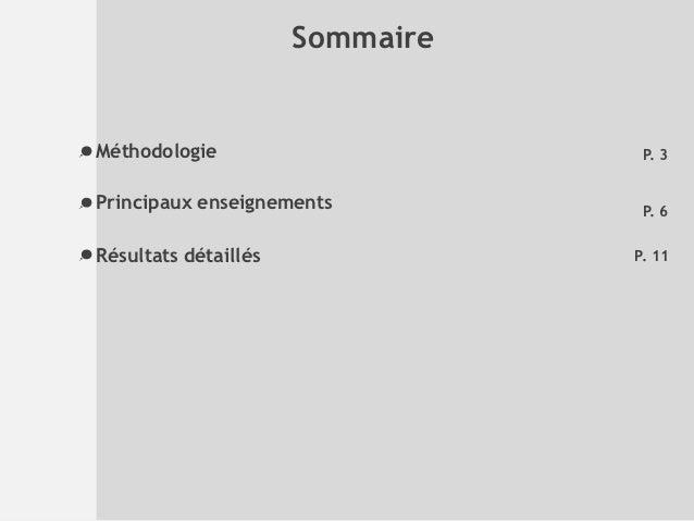 SommaireMéthodologie                      P. 3Principaux enseignements          P. 6Résultats détaillés              P. 11