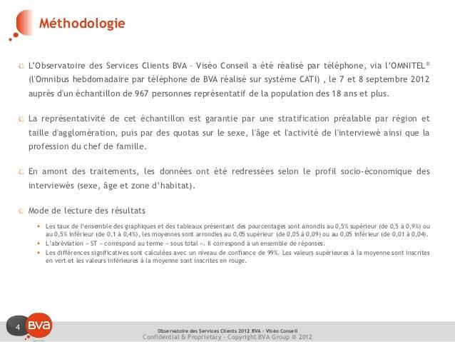 Méthodologie    L'Observatoire des Services Clients BVA – Viséo Conseil a été réalisé par téléphone, via l'OMNITEL®    (lO...
