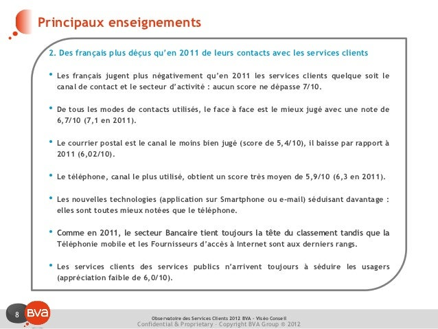 Principaux enseignements     2. Des français plus déçus qu'en 2011 de leurs contacts avec les services clients     •   Les...
