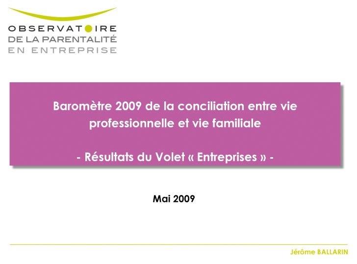 Observatoire Parentalite Entreprise 2009