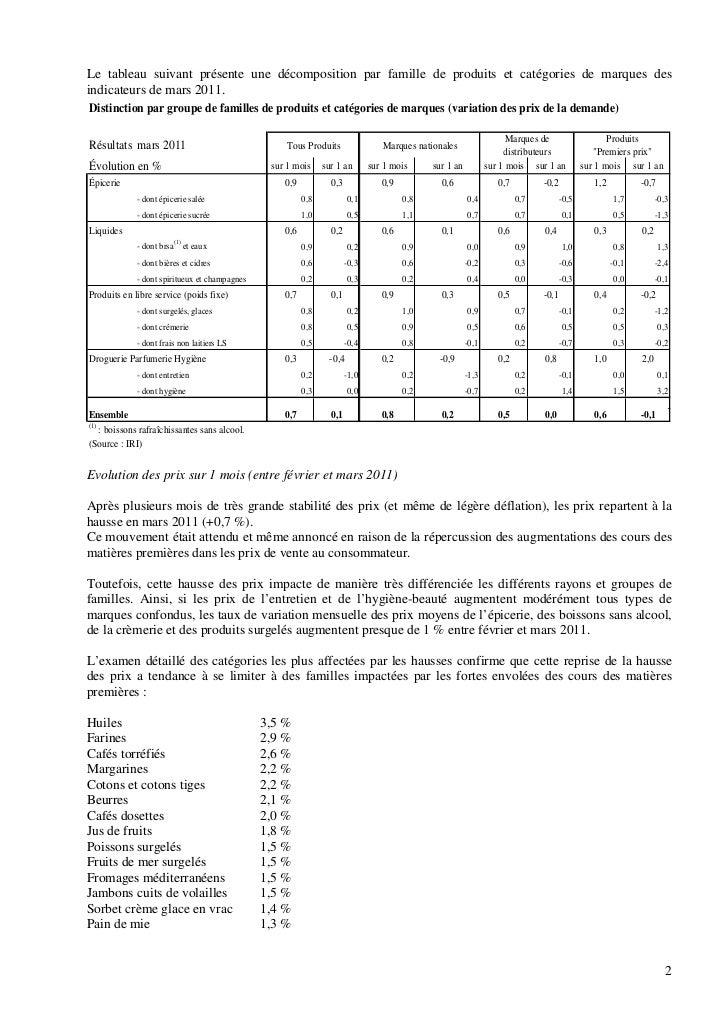 Le tableau suivant présente une décomposition par famille de produits et catégories de marques desindicateurs de mars 2011...