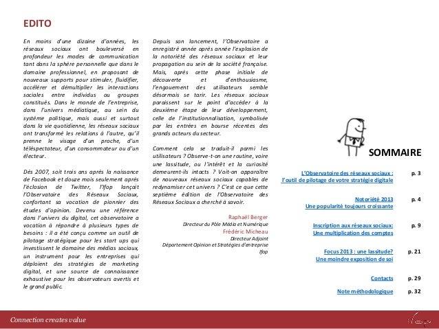 Observatoire réseaux sociaux 2013  - IFOP Slide 2