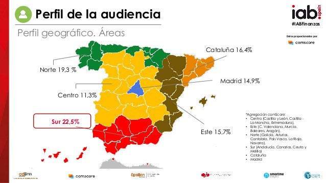 #IABFinanzas Datos proporcionados por: Centro 11,3% Sur 22,5% Norte 19,3 % Este 15,7% Cataluña 16,4% Madrid 14,9% *Agregac...