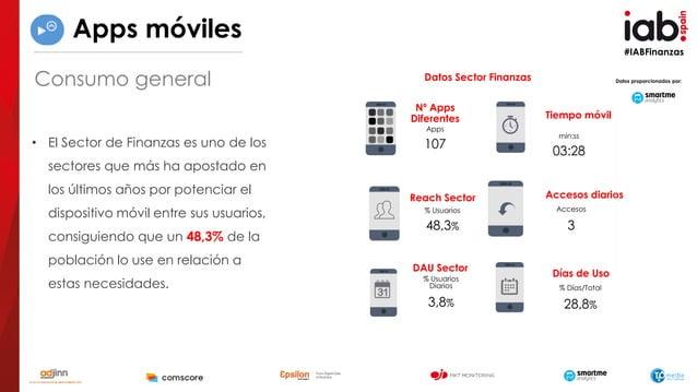 #IABFinanzas Tiempo móvil min:ss 03:28 Accesos diarios Accesos 3 % Usuarios 48,3% Reach Sector Apps 107 Nº Apps Diferentes...