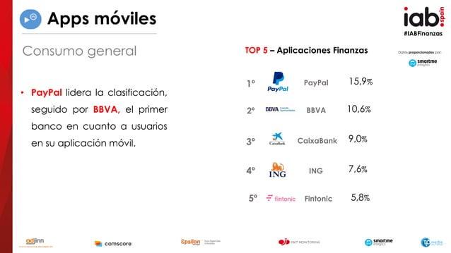 #IABFinanzas • PayPal lidera la clasificación, seguido por BBVA, el primer banco en cuanto a usuarios en su aplicación móv...