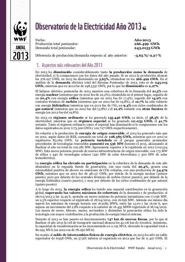 Fecha: Producción total peninsular: Demanda total peninsular:  Año 2013 266.499 GWh 243.0153 GWh  Diferencia de producción...