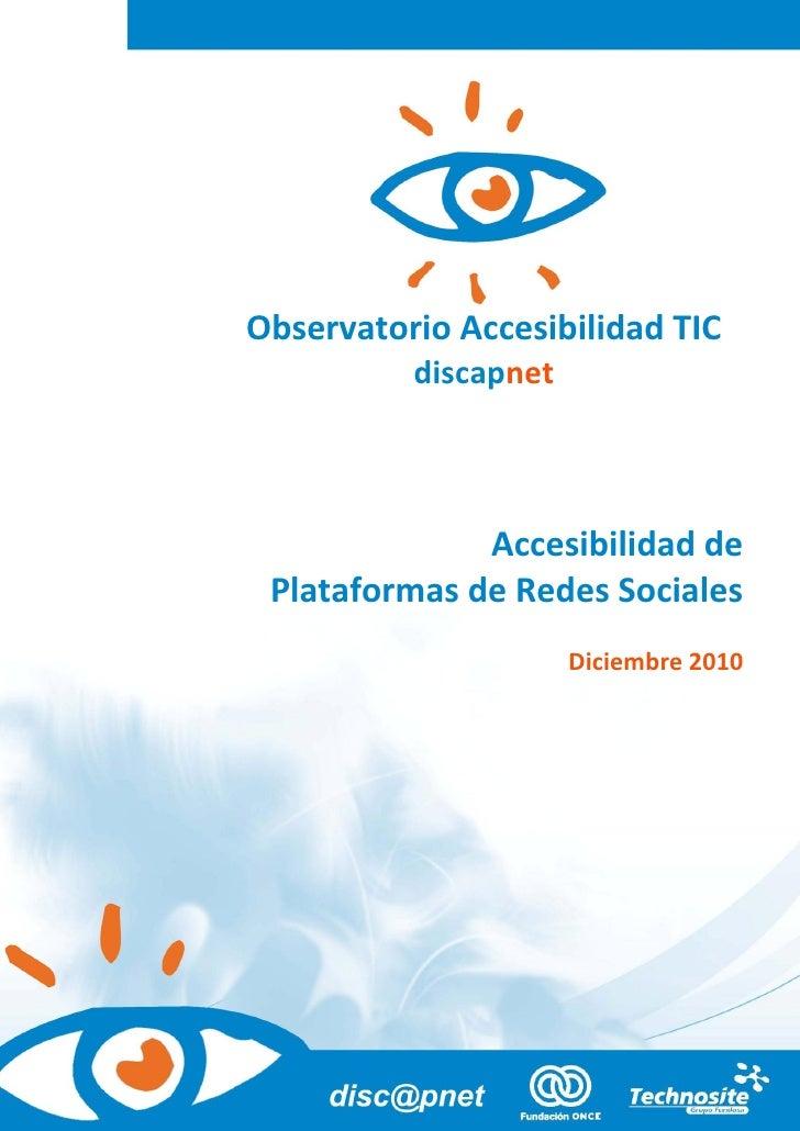 Accesibilidad de Plataformas                              de Redes SocialesObservatorio Accesibilidad TIC          discapn...
