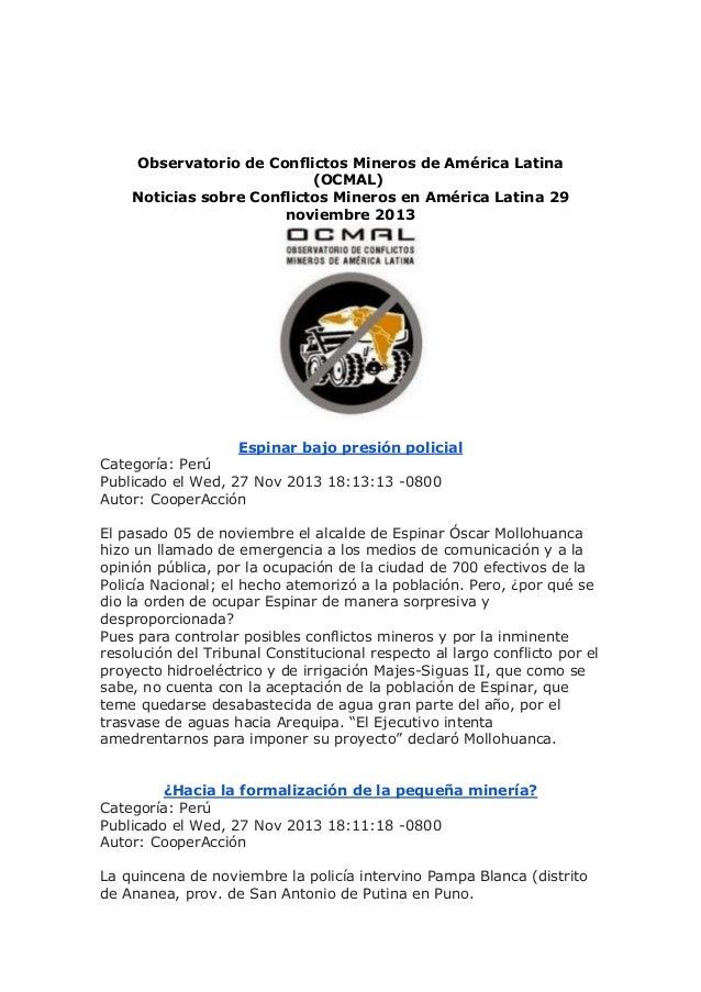 Observatorio de Conflictos Mineros de América Latina (OCMAL) Noticias sobre Conflictos Mineros en América Latina 29 noviem...