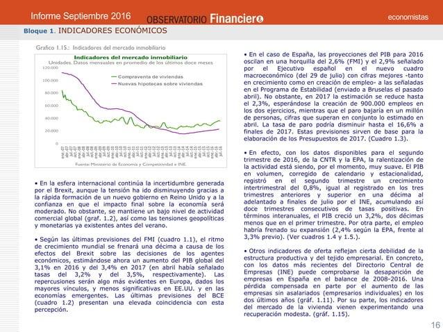 OBSERVATORIO ECONÓMICO FINANCIERO Septiembre 2016 16 Bloque 1. INDICADORES ECONÓMICOS Grafico 1.15.: Indicadores del merca...