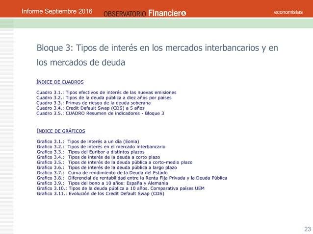 OBSERVATORIO ECONÓMICO FINANCIERO Septiembre 2016 23 Bloque 3: Tipos de interés en los mercados interbancarios y en los me...