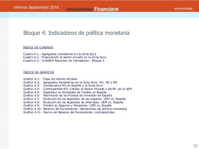 OBSERVATORIO ECONÓMICO FINANCIERO Septiembre 2016 30 Bloque 4: Indicadores de política monetaria ÍNDICE DE CUADROS Cuadro ...