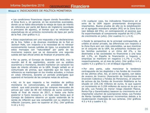 OBSERVATORIO ECONÓMICO FINANCIERO Septiembre 2016 35 Bloque 4. INDICADORES DE POLÍTICA MONETARIA • Las condiciones financi...
