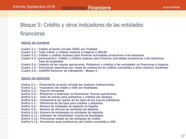 Septiembre 2016OBSERVATORIO ECONÓMICO FINANCIERO 37 Bloque 5: Crédito y otros indicadores de las entidades financieras ÍND...