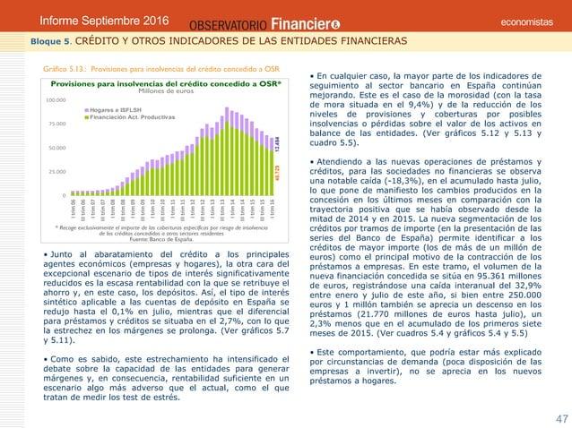 Septiembre 2016OBSERVATORIO ECONÓMICO FINANCIERO 47 Bloque 5. CRÉDITO Y OTROS INDICADORES DE LAS ENTIDADES FINANCIERAS Grá...