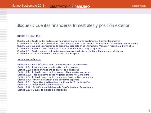 OBSERVATORIO ECONÓMICO FINANCIERO Septiembre 2016 49 Bloque 6: Cuentas financieras trimestrales y posición exterior ÍNDICE...