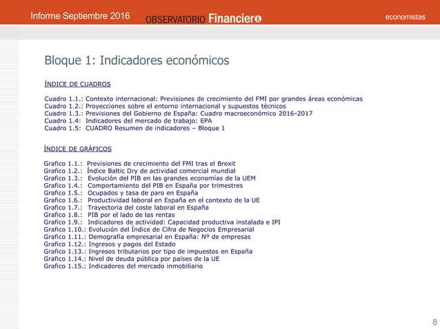 OBSERVATORIO ECONÓMICO FINANCIERO Septiembre 2016 8 Bloque 1: Indicadores económicos ÍNDICE DE CUADROS Cuadro 1.1.: Contex...