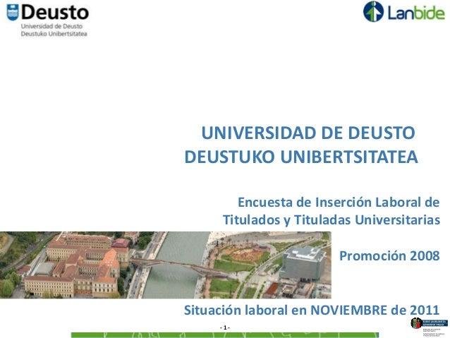 UNIVERSIDAD DE DEUSTODEUSTUKO UNIBERTSITATEA        Encuesta de Inserción Laboral de     Titulados y Tituladas Universitar...