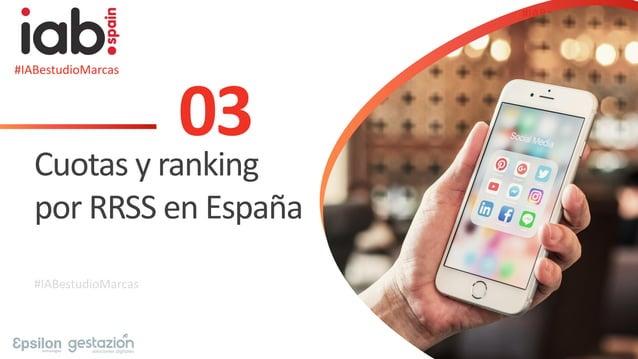 #IABestudioMarcas 03 Cuotas y ranking por RRSS en España #IABestudioMarcas #IABestudioMarcas