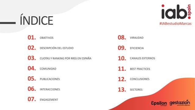 ÍNDICE OBJETIVOS 02. DESCRIPCIÓN DEL ESTUDIO 03. CUOTAS Y RANKING POR RRSS EN ESPAÑA 04. COMUNIDAD 05. PUBLICACIONES 06. I...