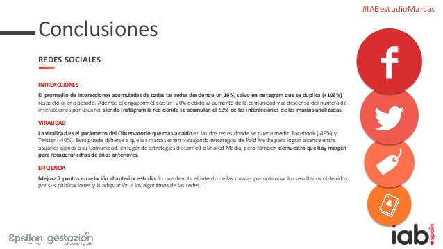 #IABestudioMarcas INTREACCIONES El promedio de interacciones acumuladas de todas las redes desciende un 16%, salvo en Inst...