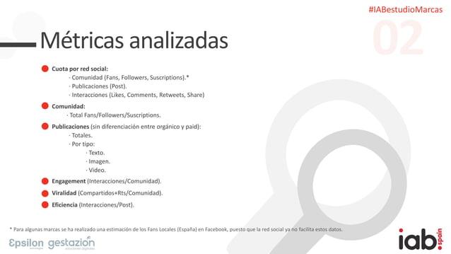 #IABestudioMarcas Métricas analizadas Cuota por red social: · Comunidad (Fans, Followers, Suscriptions).* · Publicaciones ...